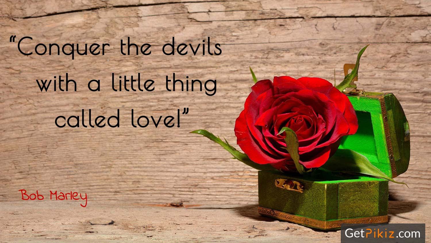 """Conquer the devils with a little thing called love!"" – Bob Marley"