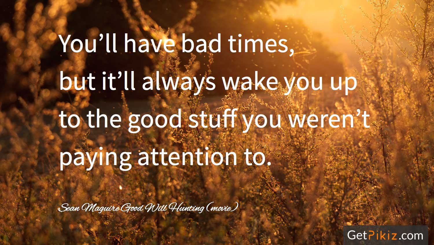 You'll have bad times, but it'll always wake you up to the good stuff you weren't paying attention to.- sean Maguire. Good Will Hunting (movie)