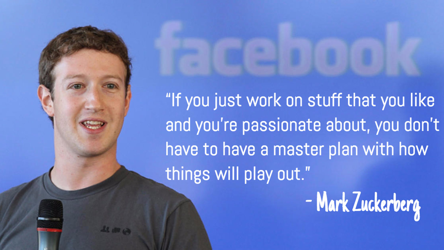 If you just work on stuff that you like and you're passionate about, you don't have to have a master plan with how things will play out. - Mark Zuckerberg.
